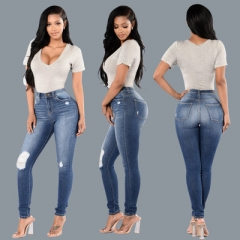 New high-end ladies tight blue washed wild hip jeans jeans slim comfortable stretch feet pants dark blue s