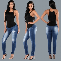 High-grade ladies tight blue washed jeans holes in the waist hip handmade elastic feet pants dark blue s