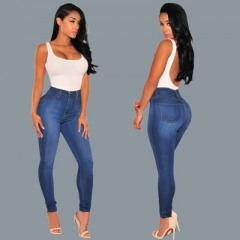New Fashion Fan Cotton Skinny Thin Solid Color Feet Jeans Retro Trousers Stretch Hip High waist dark blue s