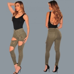 Hot cotton Slim thin feet jeans ladies handmade hole burrs tight elastic hip wild trousers army green s