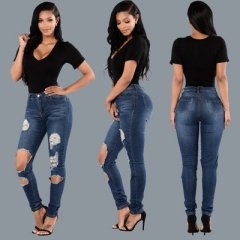 High-grade ladies tight wild hip jeans double legs big hole burrs waist waist hand stretch pants dark blue s