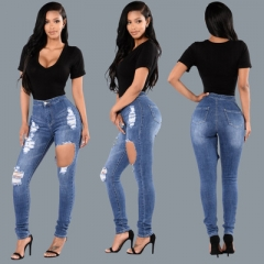 New high-grade ladies tight blue washed wild hip jeans single hole no side pocket elastic feet pants dark blue s