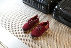 Children Shoes Boys Retro Shoes Children Sneakers kids Nubuck Leather Martin Shoes Girls Sneakers wine red 21