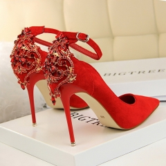 Elegant Crystal Pointed Toe Wedding ShoeWomen's Solid Flock Buckle Shallow High Heels Shoes red 34