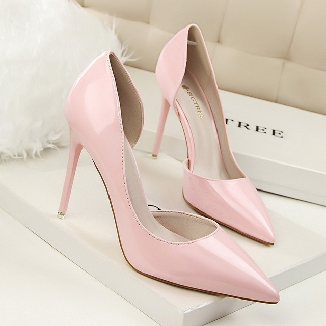b8275ec226aa 2018 Concise Solid Patent Leather Shallow Women Pumps Sexy Cut-Outs Pointed  Toe High Heels pink 40  Product No  1629285. Item specifics  Brand