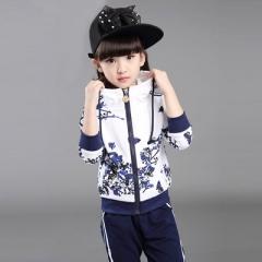 Girls Clothes Jacket Zipper Kids Hoodies Pants Kids Tracksuit For Girls Clothing Sets Sport Suit navy 120cm
