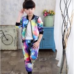 2018 Jacket for Girls Children Clothes Sets Kids Suit Girls Jacket Coat+Pants Children Tracksuit sky blue 7
