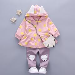 Toddler Children's Sets Flower Print Cute Fox Bag Girls Clothing Girls Clothes Kids Sets pink s