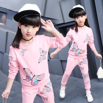 Spring Girls Clothing Sets Suit Sets For Teenagers Girl Clothes Kids Sports Clothes Tracksuit pink 120cm