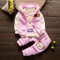 Winter Baby Clothes Set Long Sleeve Fleece Cartoon Boys Tops+Vest+ velvet Pants 3pcs Thick Warm Suit pink 80cm