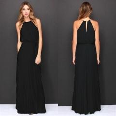 Hot Sleeveless Halter Pleated Sexy Dress Maxi Long Slim Dresses Casual Loose Chiffon Sundress s black