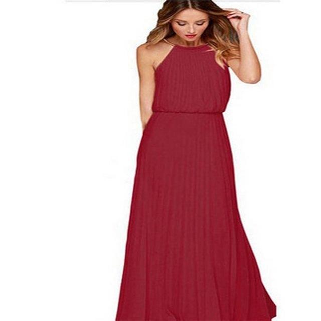 Hot Sleeveless Halter Pleated Sexy Dress Maxi Long Slim Dresses Casual Loose Chiffon Sundress s wine red