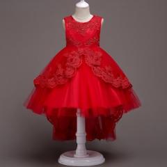 Girls Princess Flowers Ball Gown Weddings Dress Party Princess Dress Kids Clothes Girls Dresses red 110cm