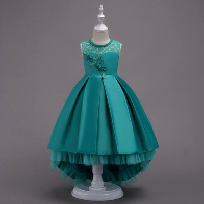 Girls Dress Princess Infant Dresses For Girls New Design Vestido Infantil Kids Party Wedding Clothes green 170cm