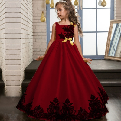 Summer Flower Lace Girls Wedding Pageant Party Dresses Princess Formal Prom Gowns  Kid girl clothes red 120cm