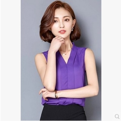 NEW 2018 Summer Women Chiffon Blouses Sleeveless V neck Casual Loose Office Lady Top purple m