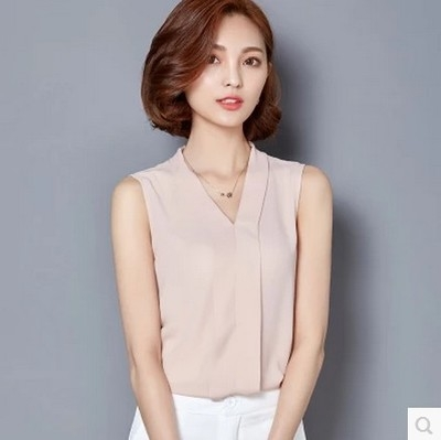 NEW 2017 Summer Women Chiffon Blouses Sleeveless V neck Casual Loose Office Lady Top pink s