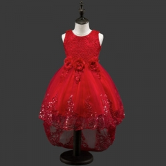 Flower Girls dresses for New Year clothes Party Baby Girls Sleeveless Big Bow Princess Wedding Dress red 110cm