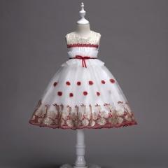 Girl Dress for Wedding Party Sequins Flowers Princess Girls Dresses Summer Girl Tailing dresses red 100cm