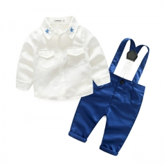 Young baby spring fall suit boy gentleman long sleeve star collared shirt with 2pcs of trousers white 80cm