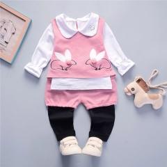 Autumn casual cartoon rabbit kid suit children set baby girl clothing baby girl clothes set pink 80cm