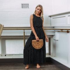 2018 Women Sexy Button Maxi Dress Dot Print Sleeveless Summer Dresses Casual Beach Long Dress s black