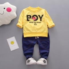 Children's Suit Cartoon Infant Clothing Children's Wear Boys Cotton Long-Sleeved Top+Pant 2pcs yellow s