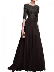 2018 Women Dress Long Elegant Lace Chiffon Dress Party Dresses Bridesmaid Noble Plus Large Size s black
