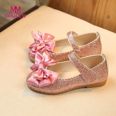 Children Girl Shoes Princess Bowknot Dance Nubuck Leather Single shoes Casual Solid PU Girls Shoe pink 21
