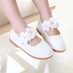 Girls Shoes Kids Leather Shoes for Girls Flower Casual Solid color Princess Party Leather Shoes white 21