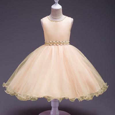 2019 New summer Pink Children Dresses For Girls Kids Formal Wear Princess Dress champagne 80cm