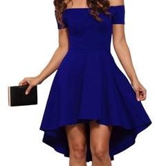 2018 Women Off Shoulder Party Dresses Burgundy&Blue Casual Elegant Vintage Midi Dress Vestidos s dark blue