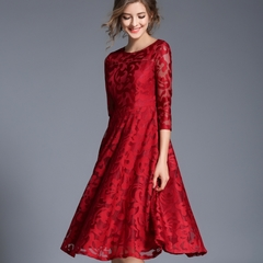 Queen Autumn Lace Dress Work Casual Slim Fashion O-neck Sexy Hollow Out Blue Red Dresses s red