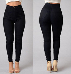 2018 Leggings thin section high waist stretch pencil pants tight candy color jeans black s
