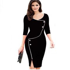 Dress Women's Elegant Female Deep V-neck Seven-point Sleeve Front Slit s black