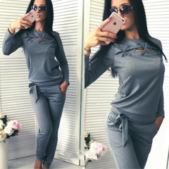 Sporting Suit Women Patchwork 2 Pieces Sets Spring Female Sexy Straps Hollow Tops And Pants grey s