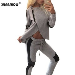 Womens Spring Autumn Casual Patchwork Zipper Two Pieces Sportswear Suits Hoodies Tracksuit for Women grey s