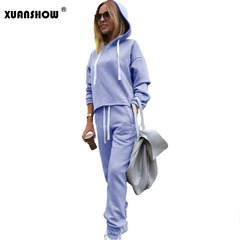 Autumn Irregular Solid Women's Outfits Long Sleeve Hoodies and Long Pants 2PCS Set Fitness Tracksuit blue s