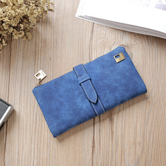 2018 Solid Drawstring Nubuck Leather Zipper Long Women Wallets Designer Purse Card Holder Clutch blue one size