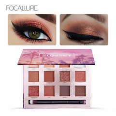FOCALLURE Eyeshadow Palette 12 Colors Eye Shadow Matte Shimmer Shining Nude Make up Glitter Pigment 01