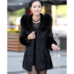 Real fox fur collar whole skin natural rabbit fur jackets women genuine fur coats outerwear black s