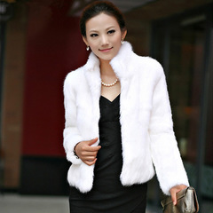 Genuine Rabbit Fur Coat women full pelt rabbit fur jacket Winter Fur waistcoat customized Collar white s