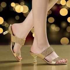 Ladies sexy slipper party shoes female diamond hollow out sandals anti-skid beautiful sandals gold 35