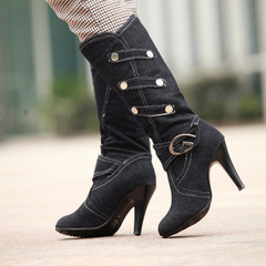 Women Knee High Long Boots Sexy Spiked High Heel Shoes Denim Upper Buckle Strap Less Platform Boots black 34