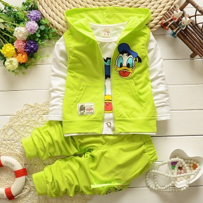 2018 Boys Clothes Suits Cartoon Donald Duck Baby Kids Boys Outerwear Hoodie Jacket Baby Sport suits green 110cm