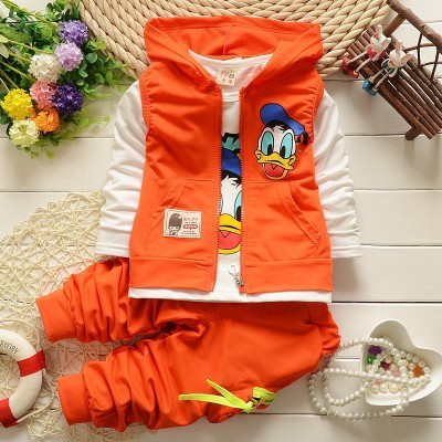 2018 Boys Clothes Suits Cartoon Donald Duck Baby Kids Boys Outerwear Hoodie Jacket Baby Sport suits orange 110cm