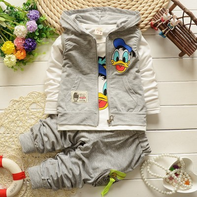 2018 Boys Clothes Suits Cartoon Donald Duck Baby Kids Boys Outerwear Hoodie Jacket Baby Sport suits gey 120cm