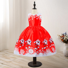 Girl Christmas Dress Baby Snowman Holiday Children Clothing Party Kids Santa Claus Costume Gift 01 110cm