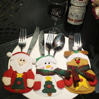 3Pcs/lot Christmas Stocking Bags Dining Table Knife Fork Holder Navidad Noel Christmas Decoration
