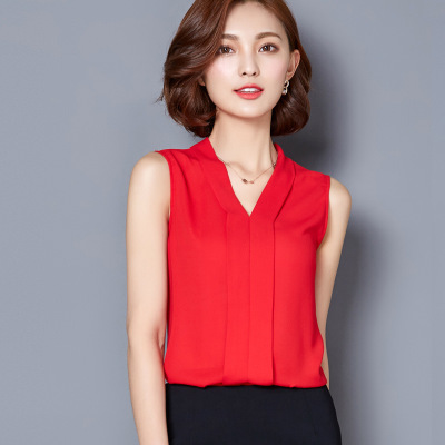 NEW 2018 Summer Women Chiffon Blouses Sleeveless V neck Casual Loose Office Lady Top red l